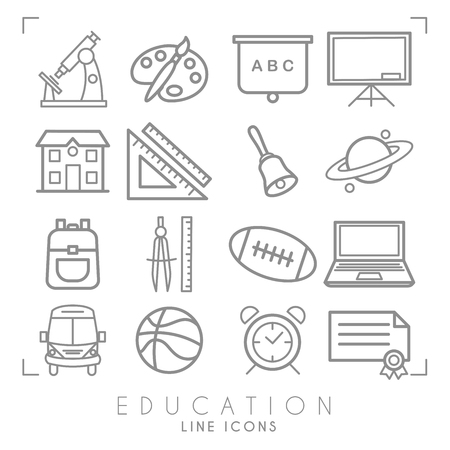 Outline thin black and white icons set. Education collection. Mathematics,  astronomy, sport games, computer and paint equipment, school bus, school building and alarm clock. Vector objects and symbols.