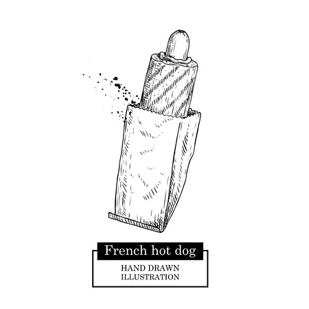 French hot dog in paper package. Grilled sausage and bun. Fast food. Hand drawn sketch style street food vector illustration. Isolated on white background.  イラスト・ベクター素材