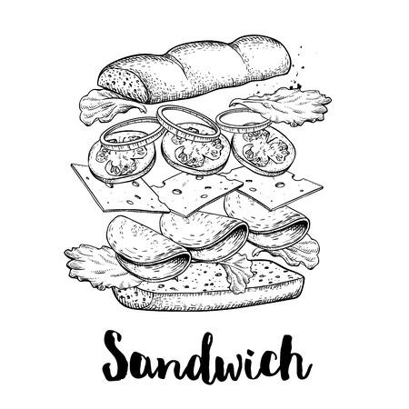 Costruttore di panini. Ingredienti volanti con ciambella grande chiaabatta. Illustrazione di vettore di stile di schizzo disegnato a mano. Disegno di fast food e street food. Prosciutto, formaggio, pomodoro, cipolla e lattuga.