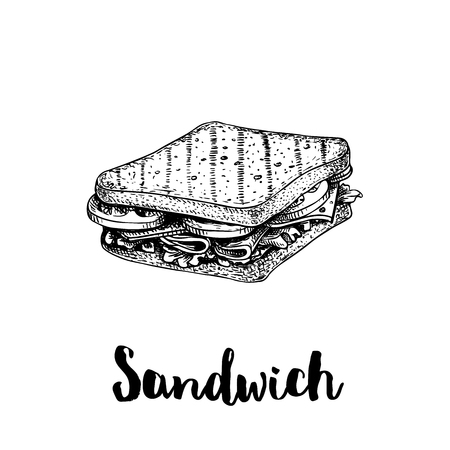Rectangular sandwich with lettuce, ham, cheese and tomato slices. Hand drawn sketch style. Grilled bread. Fast food drawing for restaurant menu and street food package. Vector illustration.