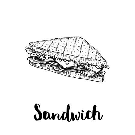 Sándwich triangular con rodajas de lechuga, jamón, queso y tomate. Estilo de boceto dibujado a mano. Pan a la parrilla. Dibujo de comida rápida para el menú del restaurante y el paquete de comida callejera. Ilustración de vector.