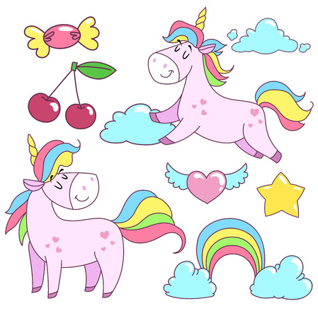 Unicorn badges set. Fashion badges with fairy tale animal, heart, star, cherry, candy and clouds. Cartoon comic style design elements for girls.
