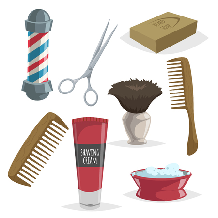 Cute cartoon barber accessories set. Barbershop striped pole, scissors, soap, wooden comb, shaving cream and brush. Vector illustrations isolated on white background.
