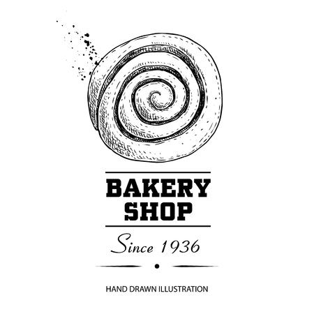 Affiche de boulangerie. Vue de dessus brioche à la cannelle pâtisserie sucrée. Illustration de vecteur de style croquis dessinés à la main isolé sur fond blanc. Idéal pour les conceptions et les emballages de boulangerie.