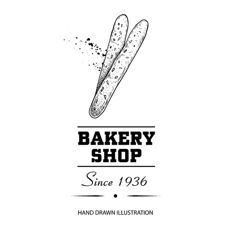 Bakery shop poster. Top view bread sticks grissini. Hand drawn sketch style vector illustration isolated on white background. Ideal for bakery shop designs and package.  イラスト・ベクター素材
