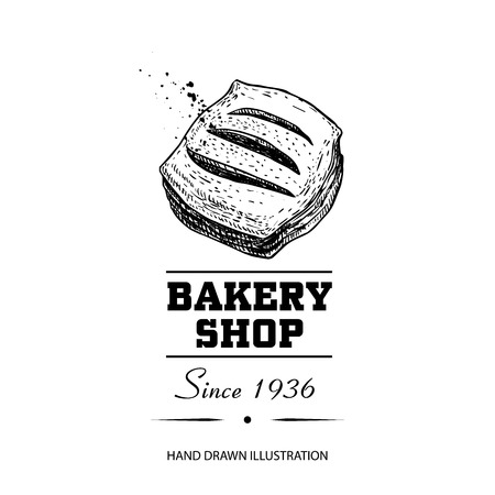 Bakery shop poster. Top view sweet pastry bun with strawberry or other berries jam. Hand drawn sketch style vector illustration isolated on white background. Ideal for bakery shop designs and package.  イラスト・ベクター素材