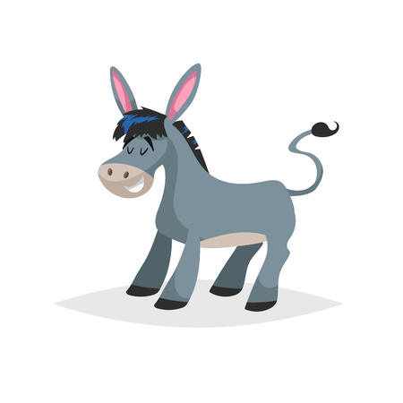 Cute cartoon donkey. Obstinate domestic farm animal. Vector illustration for education or comic needs. Vector drawing isolated on white background.