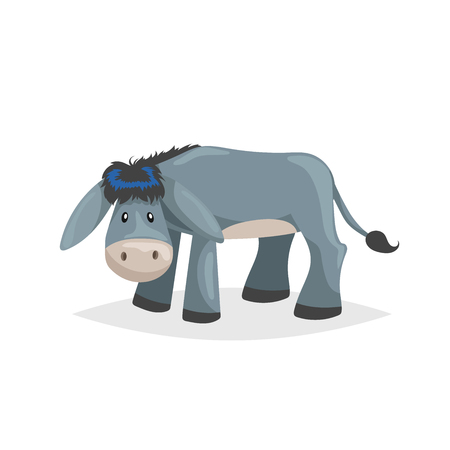 Cute cartoon donkey. Sad domestic farm animal. Vector illustration for education or comic needs. Vector drawing isolated on white background.