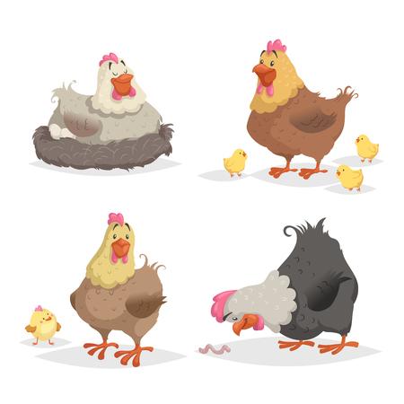 Nette Karikaturhühner eingestellt. Clockinh-Henne, Mutter mit Hühnern, die auf Wotm schaut. Nutztiere Vektor-Illustrationen isoliert auf weißem Hintergrund.