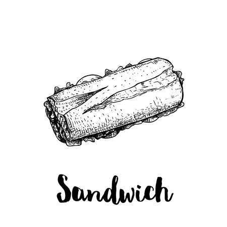 Długa kanapka z szynką, sałatą, plastrami pomidora. Widok z góry. Ilustracja styl szkic ręcznie rysowane ulicy lub fast food. Na białym tle. Rysunek wektorowy.