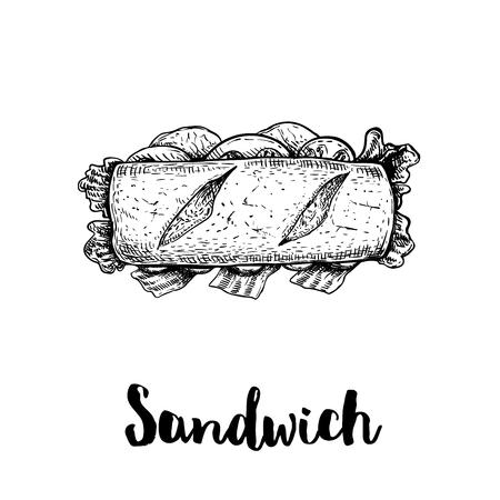 Sándwich largo con lonchas de jamón, tocino, lechuga, tomate y pepino. Vista superior. Ilustración de estilo boceto dibujado a mano de comida callejera o rápida. Aislado sobre fondo blanco. Dibujo vectorial.