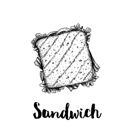 Rectangular sandwich with ham, bacon, lettuce, tomato slices and cheese. Top view. Hand drawn sketch style illustration of street or fast food. Isolated on white background. Vector drawing.