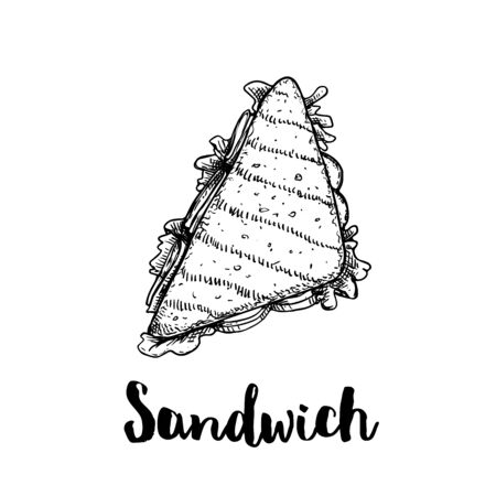 Triangle sandwich with ham, onion, lettuce, tomato slices and cheese. Top view. Hand drawn sketch style illustration of street or fast food. Isolated on white background. Vector drawing.