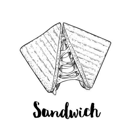 Sandwich with melted cheese. Grilled fast or street food. Lunch restaurant menu. Hand drawn sketch style illustration isolated on white background. Illusztráció