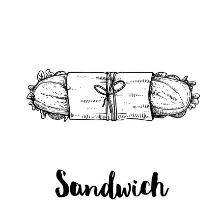 Long sandwich with ham, bacon, lettuce, tomato and cucumber slices. Top view. Submarine sandwich in paper package and twine. Hand drawn sketch style illustration of street or fast food. Isolated on wh