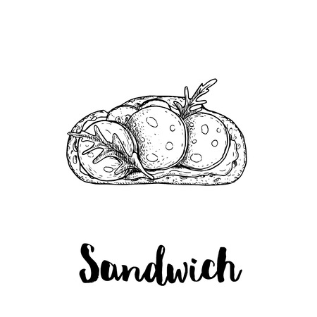 Open sandwich with salami slices, cream cheese, cucumber and arugula leaves. Top view. Ciabatta grilled bread. Hand drawn sketch style vector illustration. Lunch fast food drawing. Isolated on white b