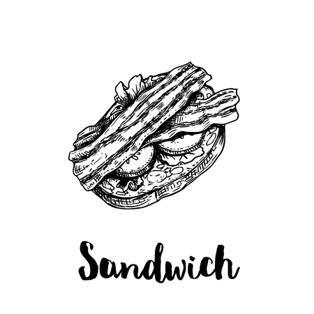 Open sandwich with bacon strips, cream cheese, cucumber and lettuce leaves. Top view. Ciabatta grilled bread. Hand drawn sketch style vector illustration. Lunch fast food drawing. Isolated on white ba