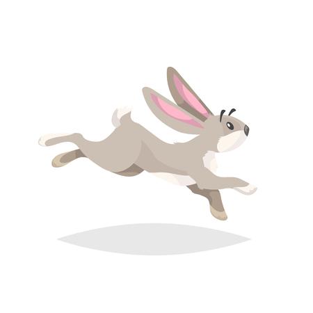 Funcionamiento del conejo de dibujos animados lindo. Dibujo de animales de granja de estilo cómic plano. Símbolo de primavera de Pascua. Ilustración de vector con sombra aislada sobre fondo blanco. Ilustración de vector