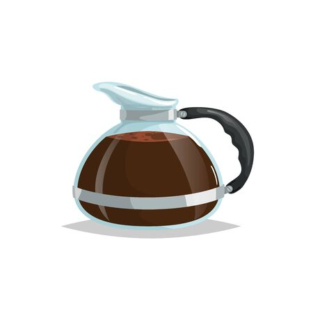 Cartoon style glass coffee pot. Drink ware vector illustration. Best for coffee shop and restaurant menu. Isolated on white background.