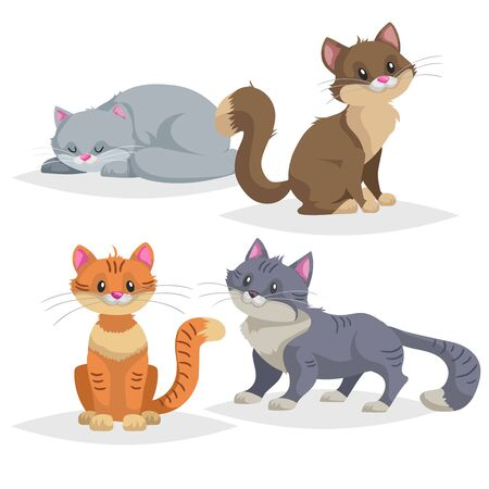 Cute cartoon cats different breeds. Domestic animals set. Ginger, blue, brown cats in comic style. Vector illustrations collection.