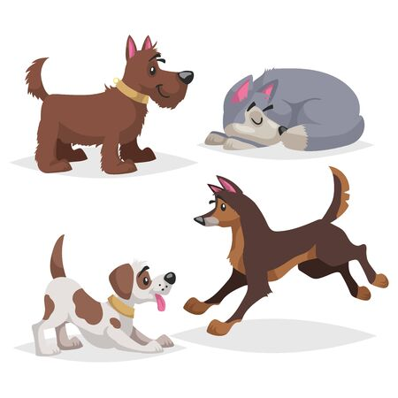 Cute cartoon dogs set. Domestic farm animals collection. Sleeping, paying, running dogs. Vector illustrations.