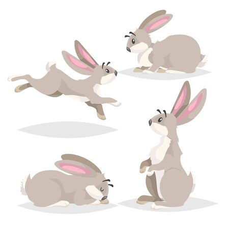 Cute cartoon rabbits set. Different poses farm and wild animals collection. Sitting, running, sleeping and staying poses. Comic style. Vector illustrations. 向量圖像