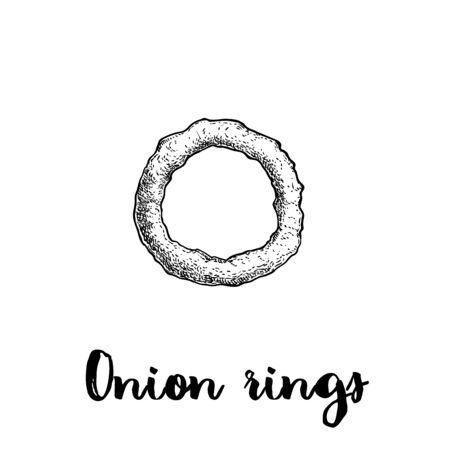 Onion ring sketch. Hand drawn fried snack. Street fast food vector illustration. Isolated on white background.