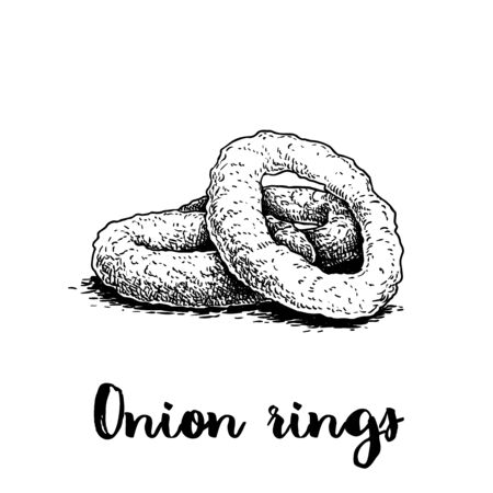 Onion rings sketch. Hand drawn fried snack. Street fast food vector illustration. Isolated on white background.