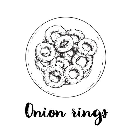 Onion rings on round white plate. Top view. Sketch drawing. Hand drawn fried snack. Street fast food vector illustration. Isolated on white background.