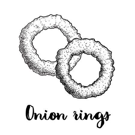 Zwiebelringe Skizze. Handgezeichneter gebratener Snack. Straßen-Fast-Food-Vektor-Illustration. Isoliert auf weißem Hintergrund.