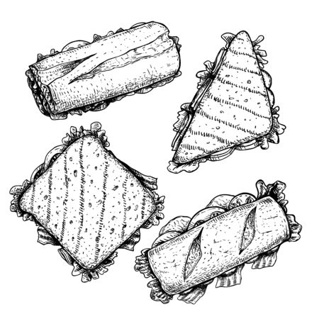 Hand drawn sketch style sandwiches set. Top view. Submarine, ciabatta, triangle and rectangular sandwiches with lettuce leaves, ham and veggies. For fast food restaurant menu. Vector illustrations.