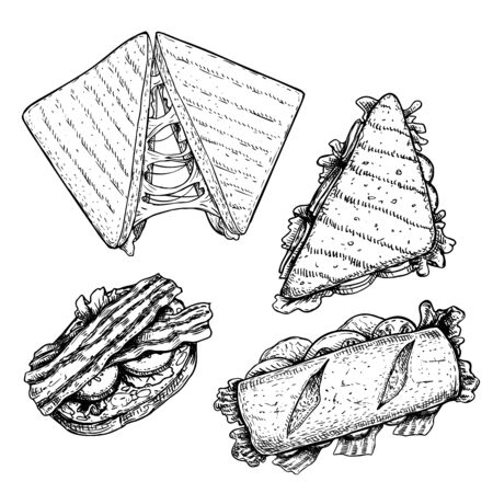 Hand drawn sketch sandwiches set. Top view. Submarine, ciabatta, triangle and rectangular sandwiches with lettuce leaves,cheese, bacon, ham and veggies. Fast food restaurant menu. Vector illustration.