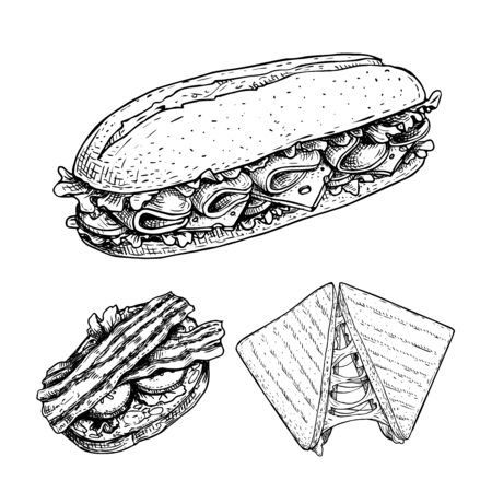 Hand drawn sketch sandwiches set. Submarine, ciabatta, triangle sandwiches with lettuce leaves, cheese, bacon, ham and veggies. Fast food restaurant menu. Vector illustration.