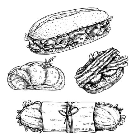 Hand drawn sketch sandwiches set. Submarine, ciabatta, sandwiches with lettuce leaves, salami, cheese, bacon, ham and veggies. Top and perspective view. Fast food restaurant menu. Vector illustration. Ilustración de vector