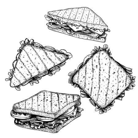 Hand drawn sketch sandwiches set. Triangle and rectangular sandwiches with lettuce leaves, salami, cheese, bacon, ham and veggies. Top and perspective view. Fast food restaurant menu. Vector illustration. Ilustração