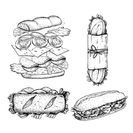 Hand drawn sketch sandwiches set. Submarine type sandwiches with lettuce leaves, salami, cheese, bacon, ham and veggies. Top and perspective view. Sandwich constructor. Flying ingredients. Fast food restaurant menu. Vector illustration. Ilustração
