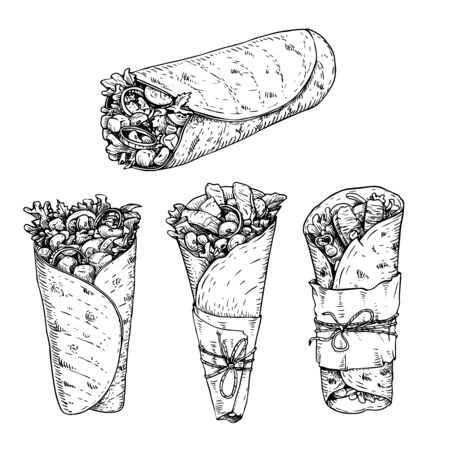 Burritos set. Hand drawn sketch style vector illustrations of traditional mexican fast food. Best for restaurant menu, packages and party designs. Retro drawings isolated on white background. Ilustração