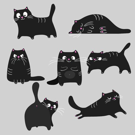 Black cats different poses and emotions set. Disappointed, angry, sleeping, relaxing, happy and cheerful cats. Pets animals collection. Halloween symbols. Vector drawings.  イラスト・ベクター素材