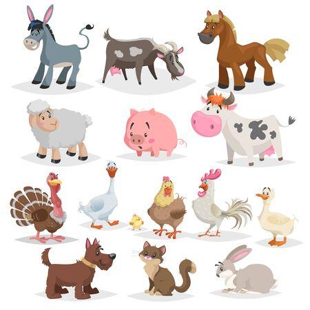 Lindo conjunto de animales de granja. Colección de dibujos vectoriales de dibujos animados en estilo plano. Burro, cabra, caballo, oveja, cerdo, vaca, pavo, pato, gallo y gallina, ganso, perro, gato, conejo.