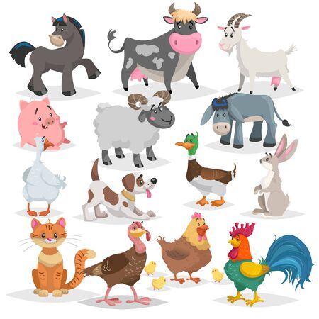 Cute farm animals set. Collection of cartoon vector drawings in flat style. Donkey, goat, horse, sheep, pig, cow, turkey, duck, rooster and hen, goose, dog, cat, rabbit.