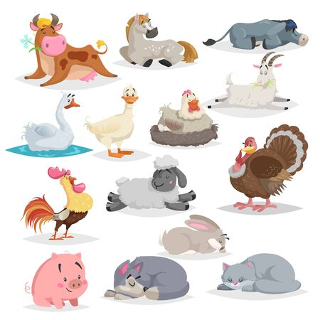 Cute farm animals set. Collection of cartoon vector drawings in flat style. Donkey, goat, horse, sheep, pig, cow, turkey, duck, rooster and hen, goose, dog, cat, rabbit. Various poses. Sleeping animals.