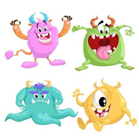 Cartoon cute monsters set. Vector drawing for Halloween and monsters party's. Smiling aliens in flat style. Best for prints, party decorations. Isolated on white background.  イラスト・ベクター素材