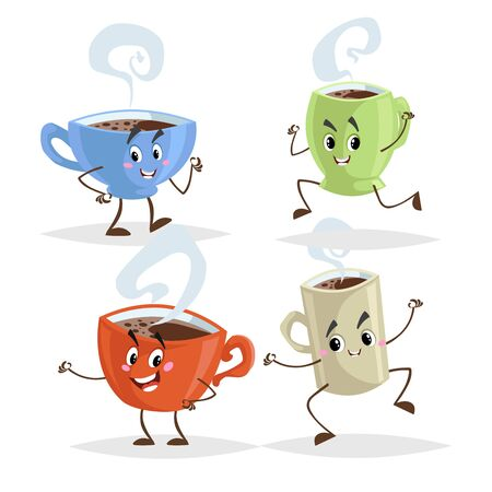 Cute cartoon coffee mug and cups characters set. Coffee time concepts. Jumping, running, giving thumb up poses. Vector illustrations.