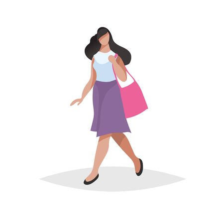 Happy young woman with long black hair walking and shopping. Flat modern trendy design style. Urban girl drawing. Vector illustration.