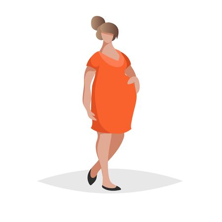 Pregnant woman wearing red or orange dress. Flat trendy design style. Maternity icon. Social network image. Vector illustration.
