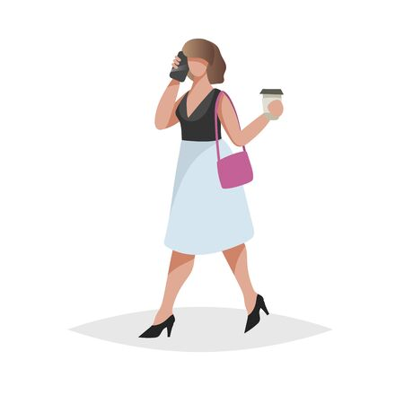 Happy young woman with brown hair talking smartphone and taking coffee-to-go. Flat modern trendy design style. Urban girl drawing. Vector illustration
