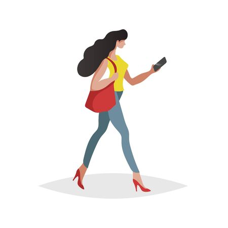 Happy young woman with long black hair walking and looking smartphone. Flat modern trendy design style. Urban girl drawing. Vector illustration.