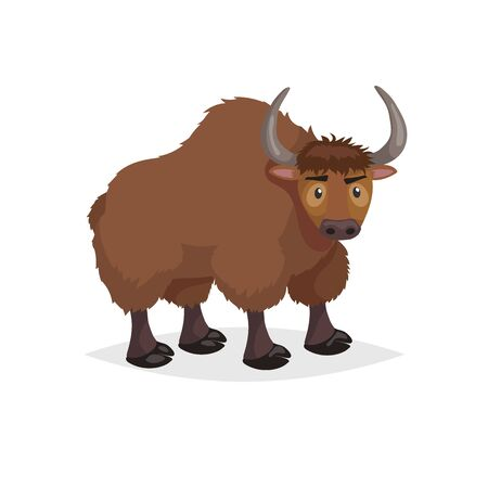 Cute cartoon yak. Wild animal. Vector illustration for child books. Big furry cattle animal. Isolated on white background.