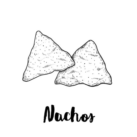 Hand drawn sketch style nachos. Traditional Mexican food. Corn chips. Retro style. Element for Mexican restaurant menu designs. Vector illustration isolated on white background.