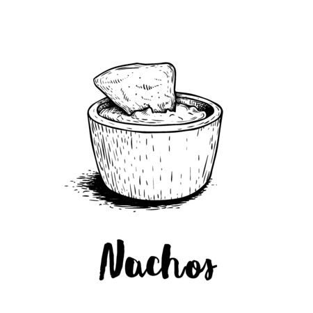 Hand drawn sketch style nachos with guacamole sauce. Traditional Mexican food. Corn chips. Retro style. Element for Mexican restaurant menu designs. Vector illustration isolated on white background.